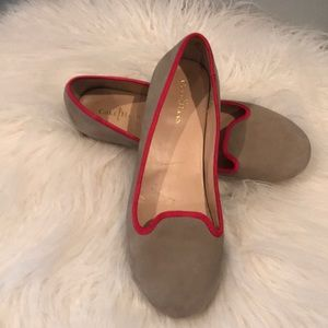 Cole Haan Suede flats with hot pink trim